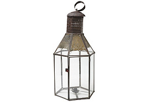Large Moroccan Tin & Clear Glass Lantern