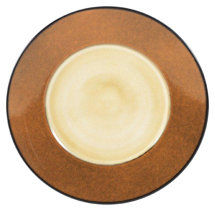 S/6 Round Flat Rim Dinner Plates, Gold