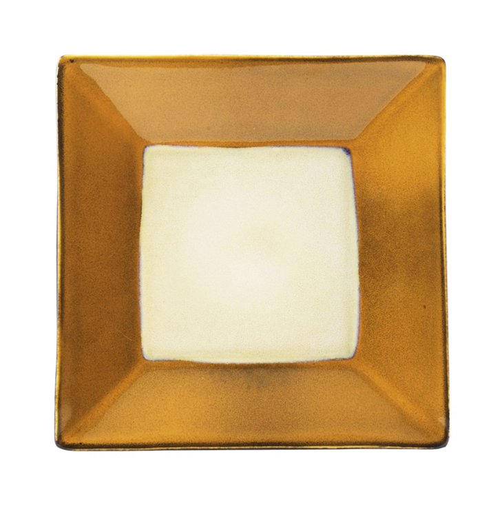 S/6 Square Salad Plates, Gold