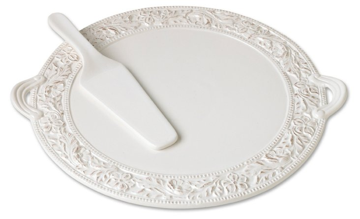 Country Flat Cake Plate w/ Server