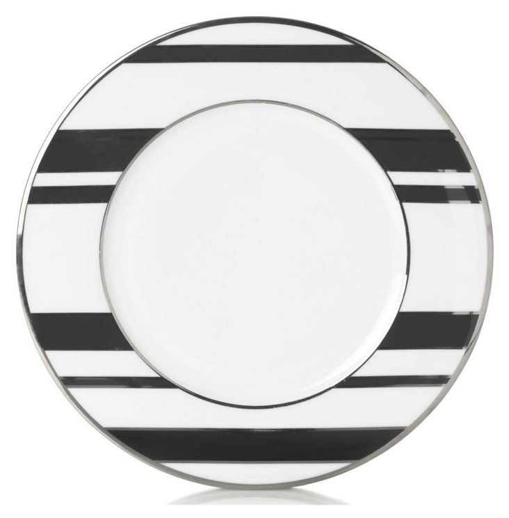 S/4 Striped Accent Plates, Black/Silver