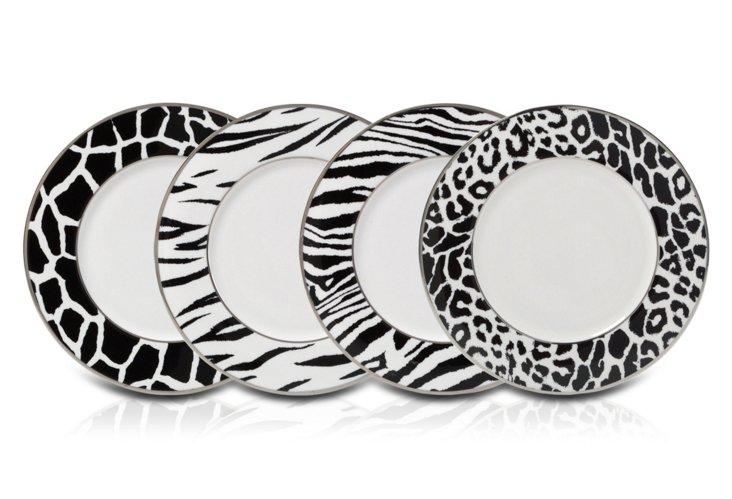 S/4 Assorted Animal Plates, Black/White