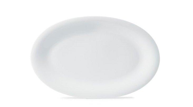Sleek Oval Platter, White