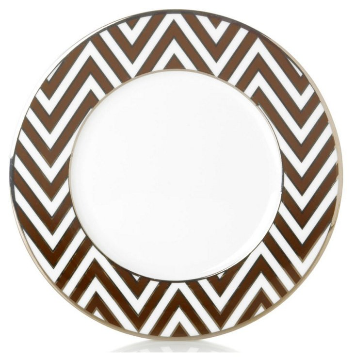 S/4 Zigzag Accent Plates, Brown/Silver