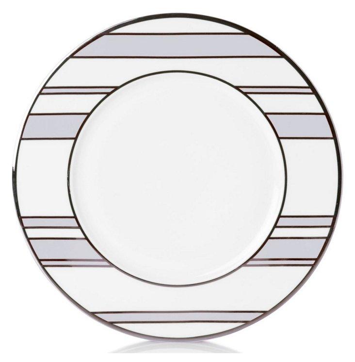 S/4 Striped Accent Plates, Gray