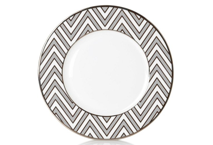 S/4 Zigzag Accent Plates, Gray/White