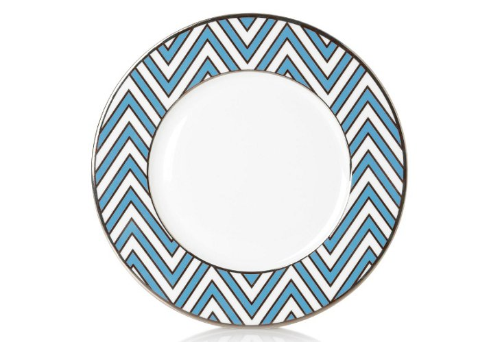 S/4 Zigzag Accent Plates, Light Blue/White