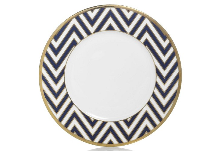 S/4 Zigzag Accent Plates, Blue/Gold