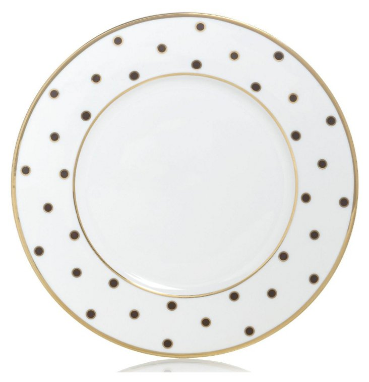S/4 Dots Accent Plates, Brown/Gold