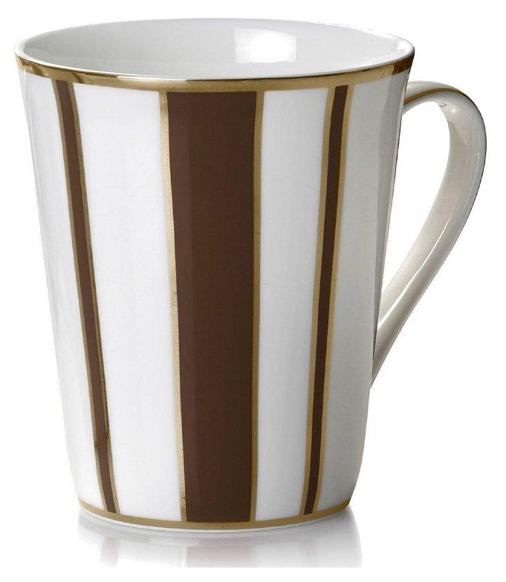 S/4 Striped Mugs, Brown/Gold