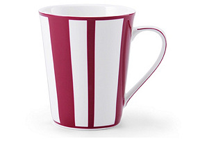 S/4 Striped Mugs, Fuchsia/White