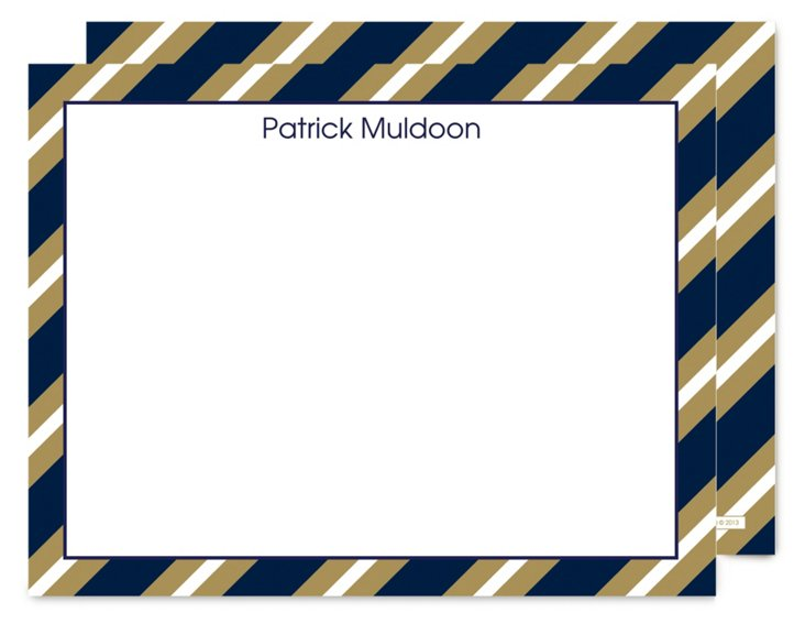 S/25 Flat Note Cards, Blue/Gold