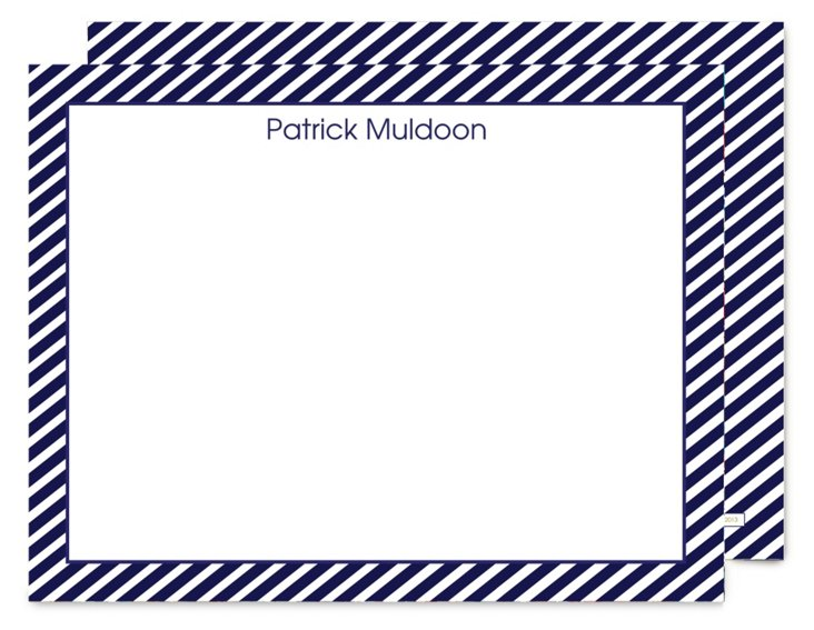 S/25 Flat Note Cards, Nautical Stripes