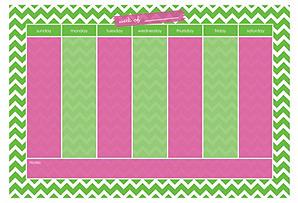 Weekly Chevron Desk Blotter, Green/Pink