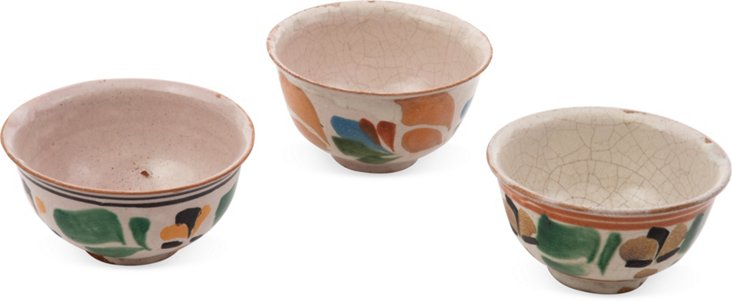 Vintage Oaxaca Glazed Bowls, Set of 3