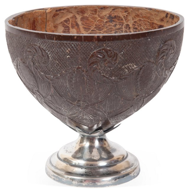 Sterling-Mounted Coconut Cup