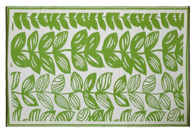 Malé Plastic Outdoor Rug, Green/Cream