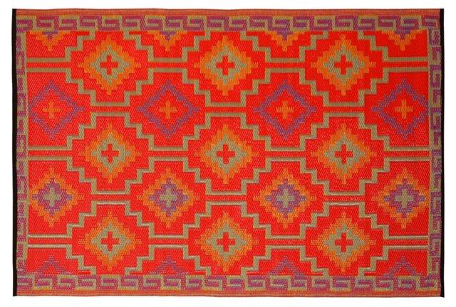 4'x6' Lhasa Rug, Orange/Violet