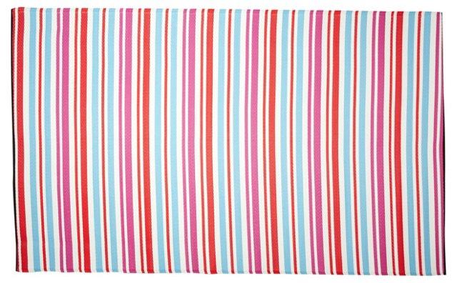 Stripe Plastic Outdoor Rug, Multi