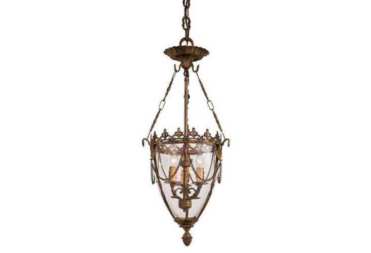 Budapest 3-Light Bell Jar Pendant, Brass