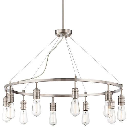 Downtown 10-Light Chandelier, Nickel