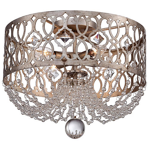 Lucero 4-Light Flush Mount, Silver