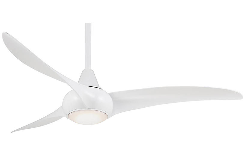 Aire Wave Ceiling Fan Light Fixture, White