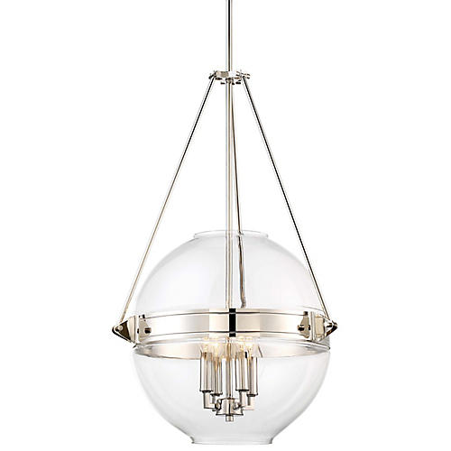 Atrio 4-Light Globe Pendant, Polished Nickel