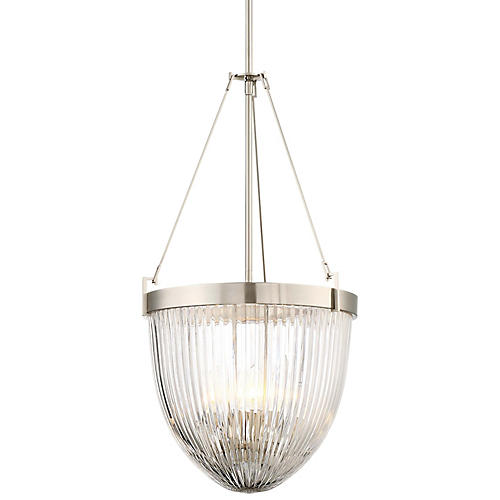 Atrio 4-Light Ribbed Pendant, Brushed Nickel