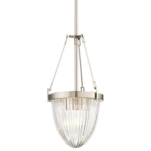 Atrio Ribbed Pendant, Brushed Nickel