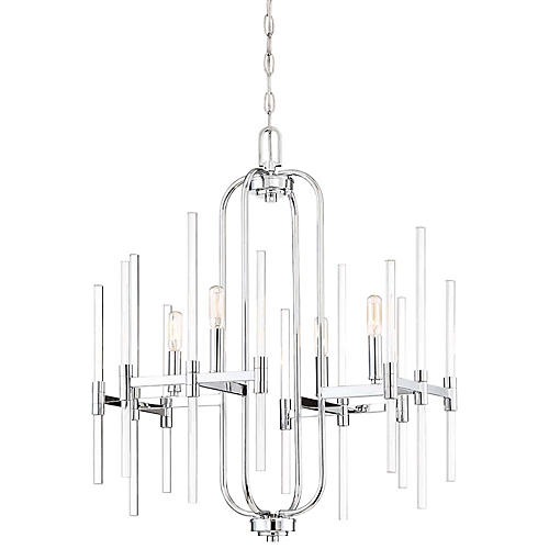 Pillar 4-Light Chandelier, Chrome