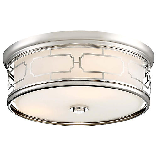 Ortona Flush Mount, Polished Nickel