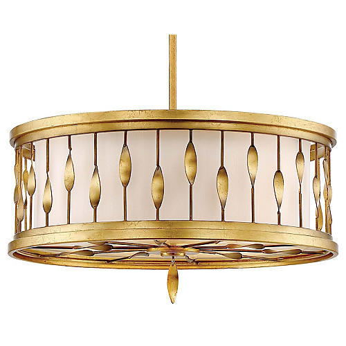 Olivetas 3-Light Pendant, Terrace Gold