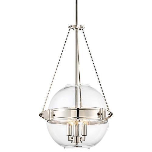 Atrio 3-Light Globe Pendant, Polished Nickel