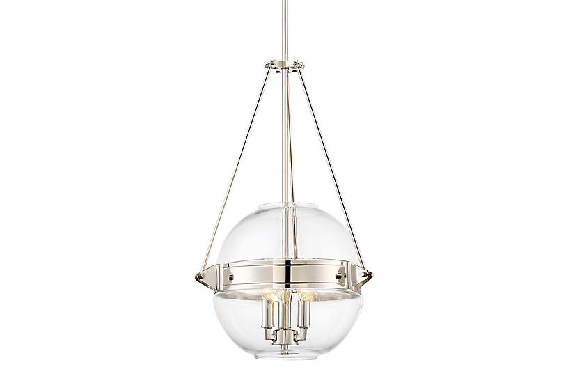 Atrio 3-Light Globe Pendant, Polished Nickel