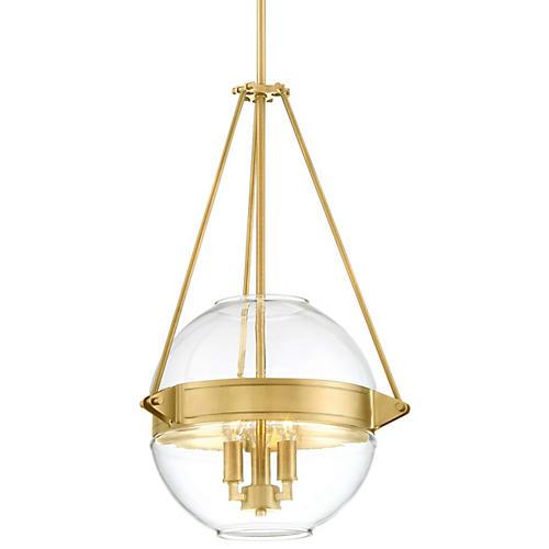Atrio 3-Light Globe Pendant, Liberty Gold