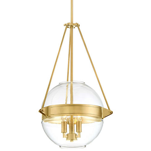 Atrio 3-Light Globe Pendant, Liberty Gold