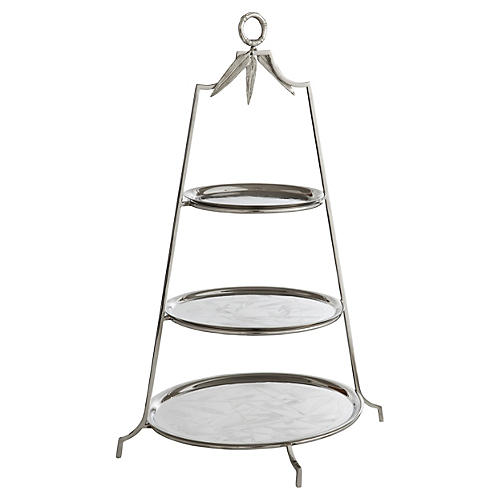 Bamboo Three-Tier Étagère, Silver