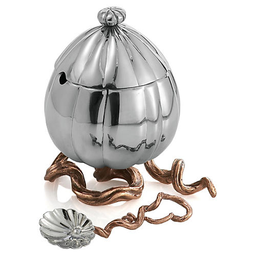 Small Gourd & Vine Sugar Pot, Silver