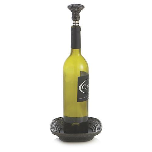 Gotham Wine Coaster & Stopper Set