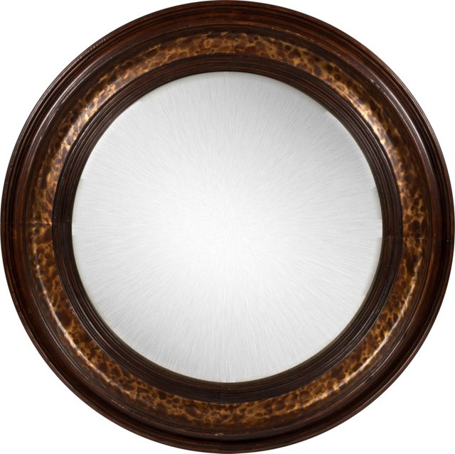 Vintage Convex Mirror w/Wood Frame