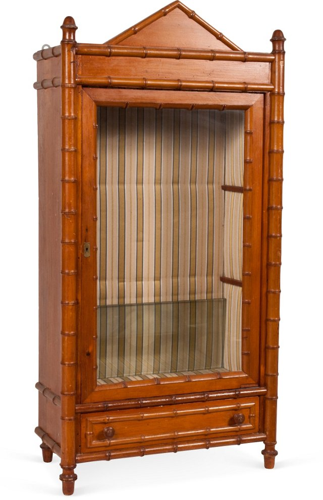 Miniature Faux-Bamboo Display Cabinet