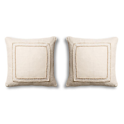S/2 Linen 18x18 Pillows, Natural
