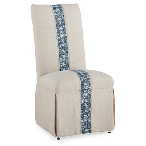 Rachel Side Chair, Blue Jaipur Stripe