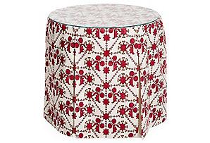 Eden Round Skirted Table, Berry Kota