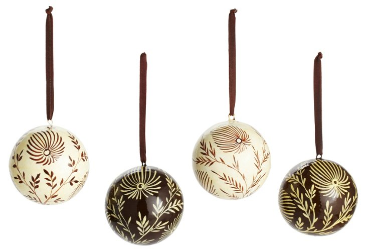 S/4 Ball Ornaments, Brown