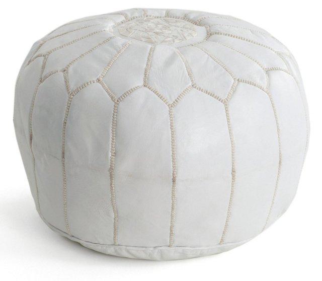Moroccan Pouf, White