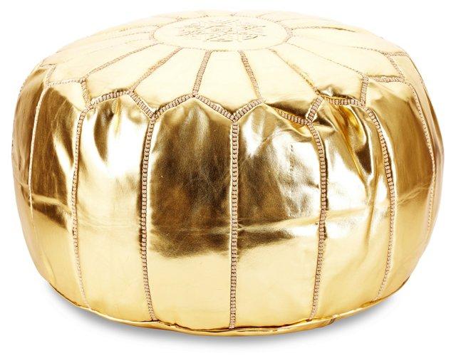 Moroccan Pouf, Gold