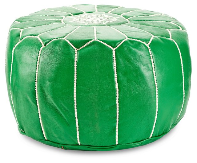 Moroccan Round Pouf, Kelly Green