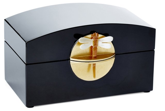 "9"" Lacquer Dragonfly Box, Black"